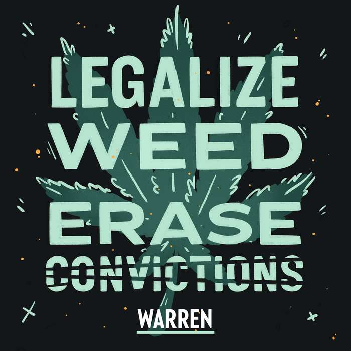 """Legalize weed. Erase convictions"" in hand-rendered caps from Ringside."