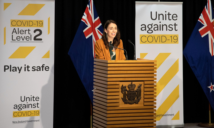 Prime Minister Jacinda Ardern at a press conference about COVID-19 held at the New Zealand Parliament in Wellington on June 8, 2020.