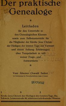 <cite>Der praktische Genealoge</cite> by Oswald Seifert