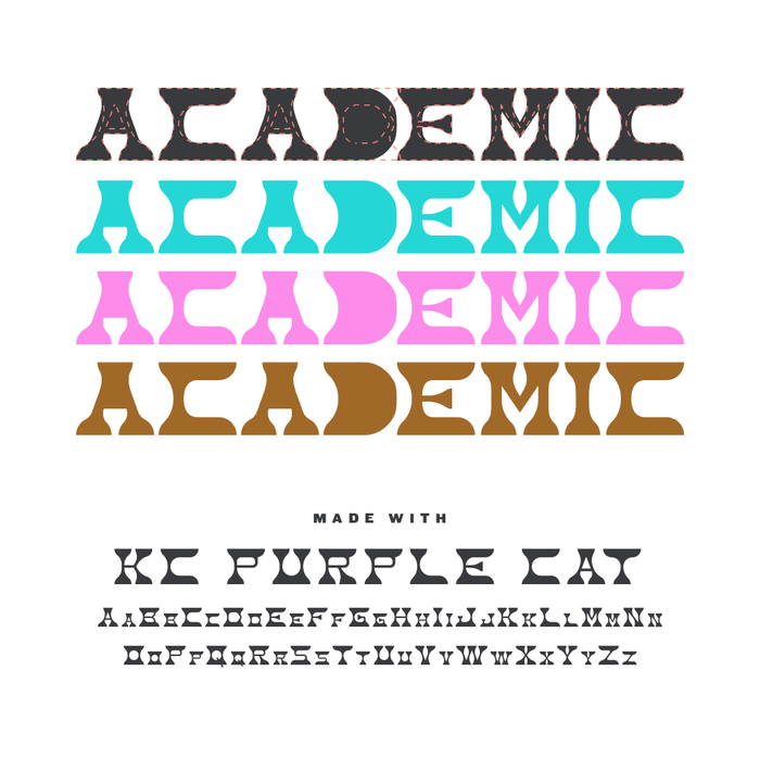 Wordmark and color palette. The dashed contour shows the unmodified glyphs in KC Purple Cat.