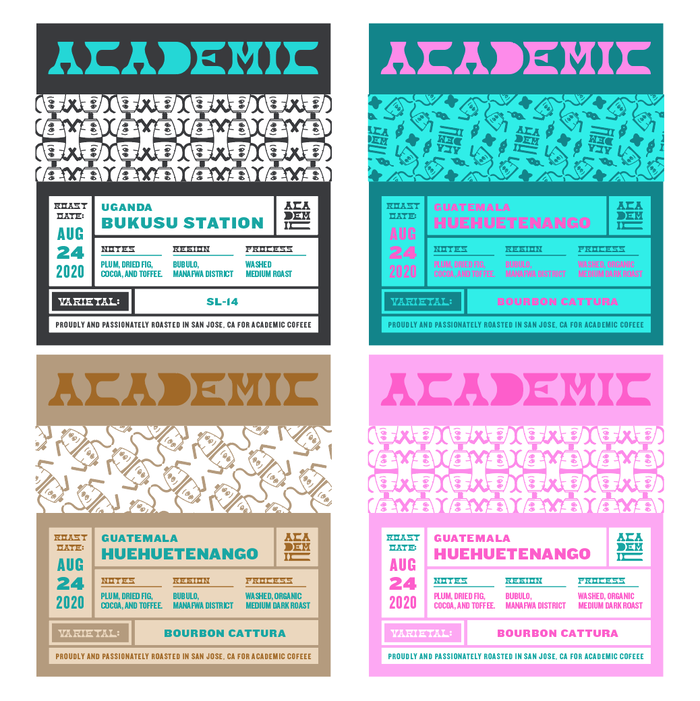 Coffee bag labels. Text is set in various styles from the  family by .