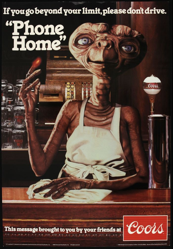 The apron and rag seem to suggest an alternate ending where E.T. gives up on trying to leave Earth and gets into bartending.