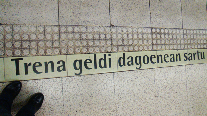 """Trena geldi dagoenean sartu."" (Basque for ""Enter when the train is stationary""), photographed in 2012."