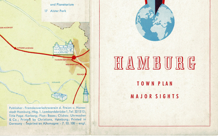 Detail. The plan is credited to Baass, probably Hans-Günther Baass (1909–1991); the title page to Karberg, i.e. Bruno Karberg (1896–1967). Printed by Christians, Hamburg.