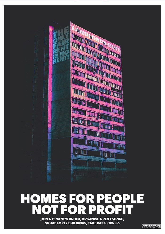"""Homes for people not profit"", set in all caps ."