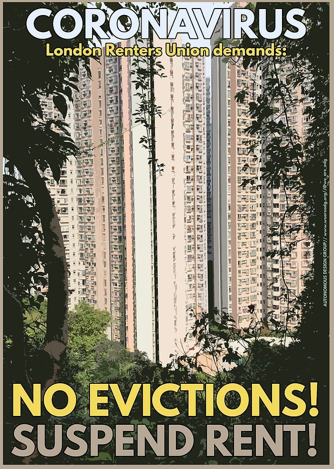 Poster for London Renters' Union during the Coronavirus pandemic.