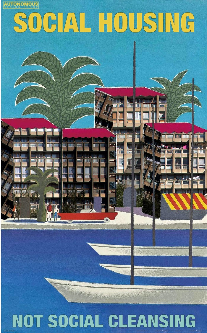 Social Housing, with a collage based on 1950s Air France posters, with text set in .