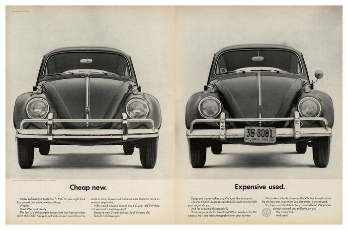 """Cheap new. Expensive used."", 1962."