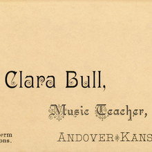 Clara Bull, Music Teacher business card