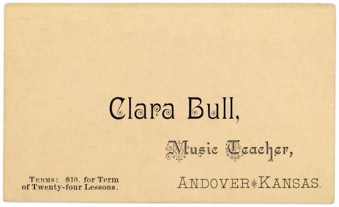 Clara Bull, Music Teacher business card