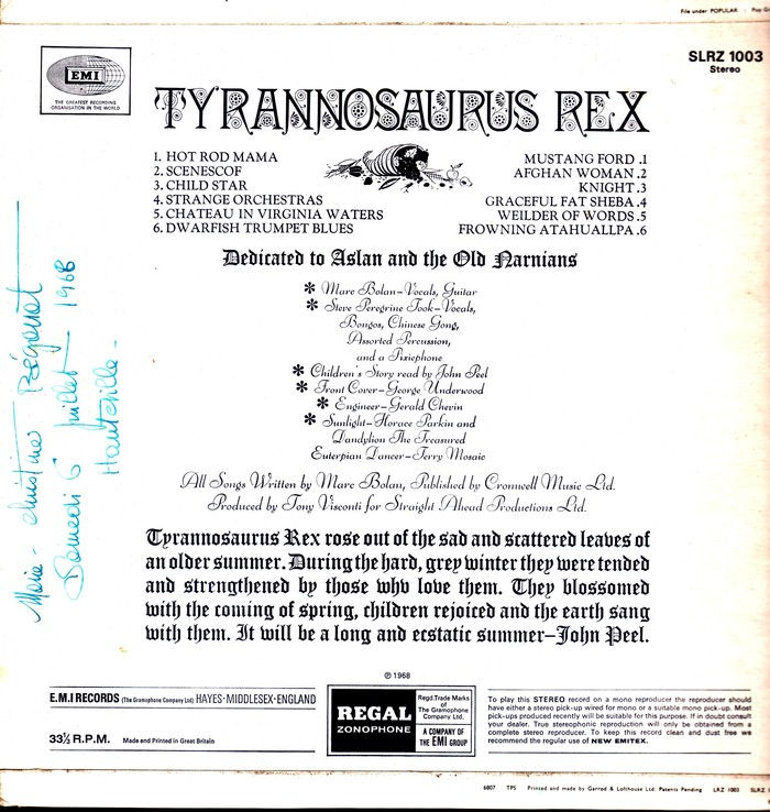 Tyrannosaurus Rex  ‎–  My People Were Fair and Had Sky in Their Hair … but Now They're Content to Wear Stars on Their Brows  album art 2