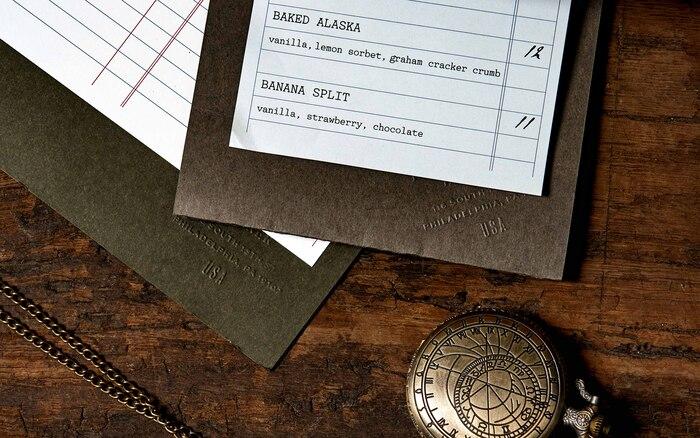 Detail of a desert menu set in .