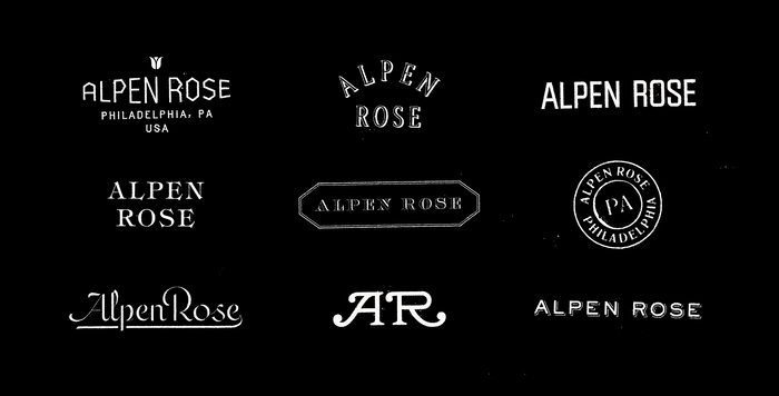 Alpen Rose logo variations, partially hand-lettered, partly type. In the top row, the first logo is based on ; the second one is a modified version of  Condensed, outlined with a thin dropshadow; and the third variant uses  4 34-Regular B. The middle row variations use , , and . The bottom row has a script and a monogram that both are custom drawn, while the last logo is set in  with a manually added dropshadow.