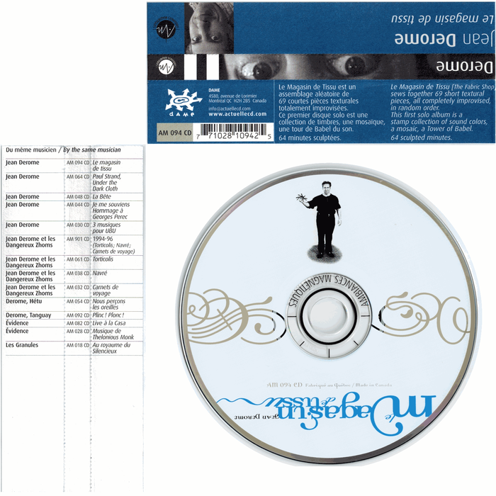 CD with type in Dalliance and spine blurb cards in FF Dax