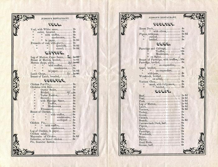 Judson's Restaurant 1853 à la carte menu 2