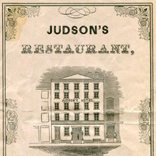 Judson's Restaurant 1853 à la carte menu