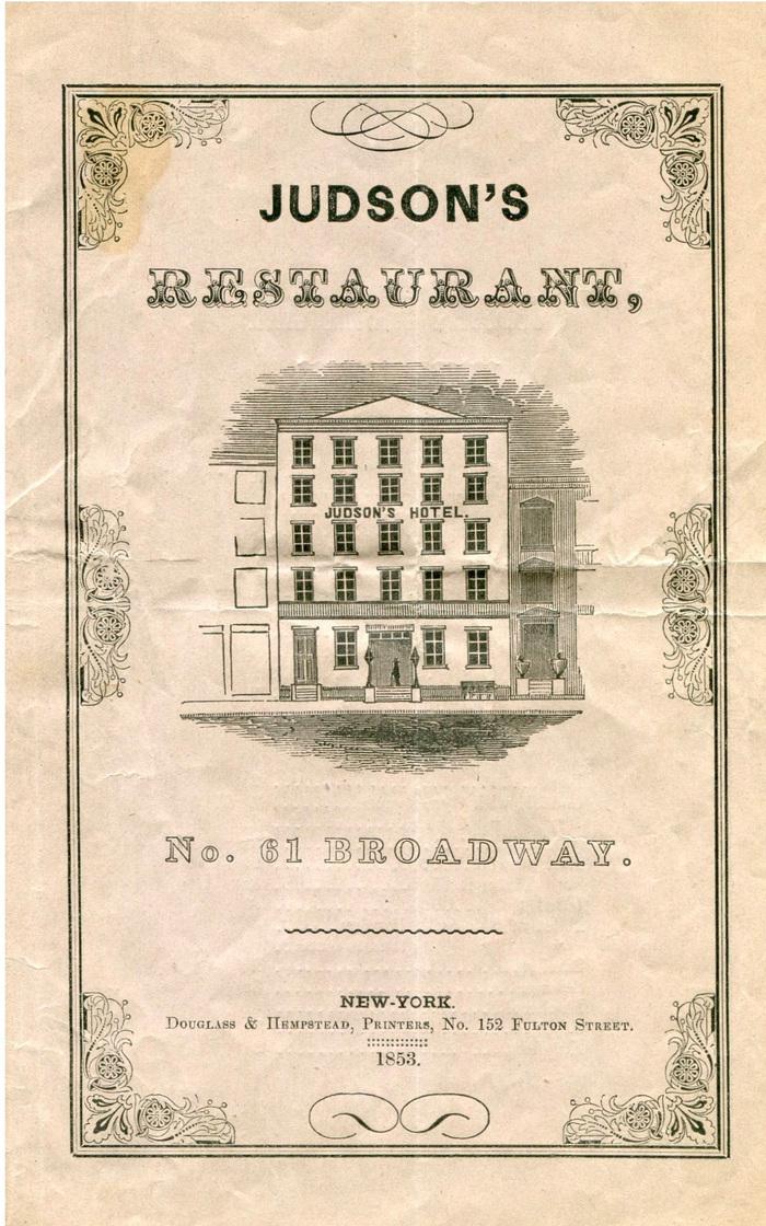 Judson's Restaurant 1853 à la carte menu 1