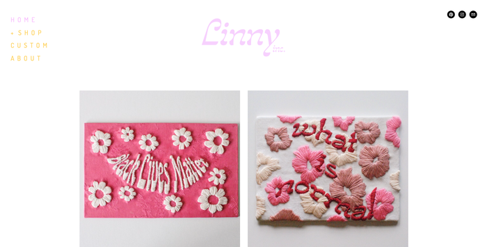 """Linny Inc. logo and """"what is normal"""" embroidery 2"""