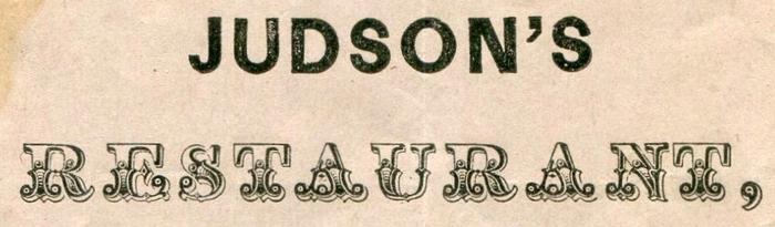 Judson's Restaurant 1853 à la carte menu 3