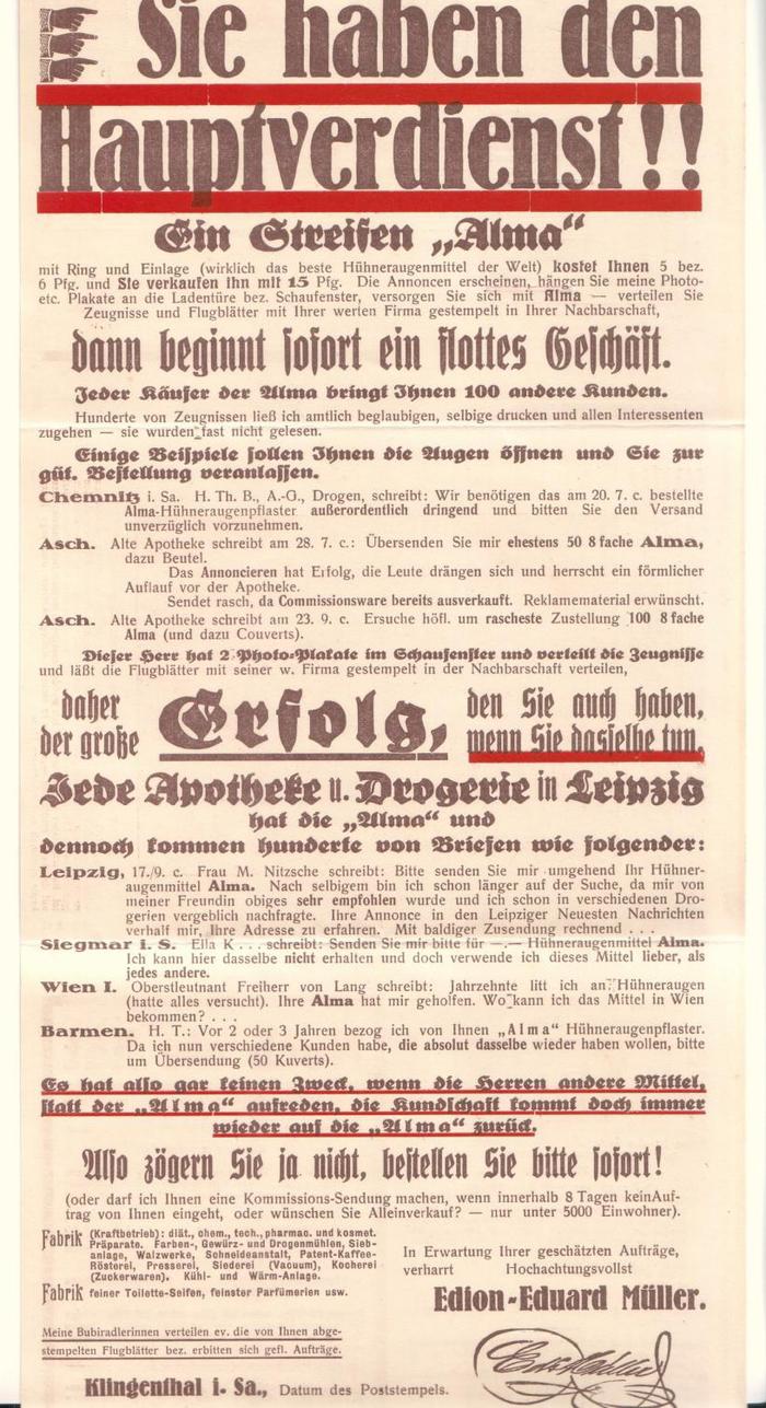 """""""Sie haben den Hauptverdienst!!"""" ad by Edion-Eduard Müller 1"""