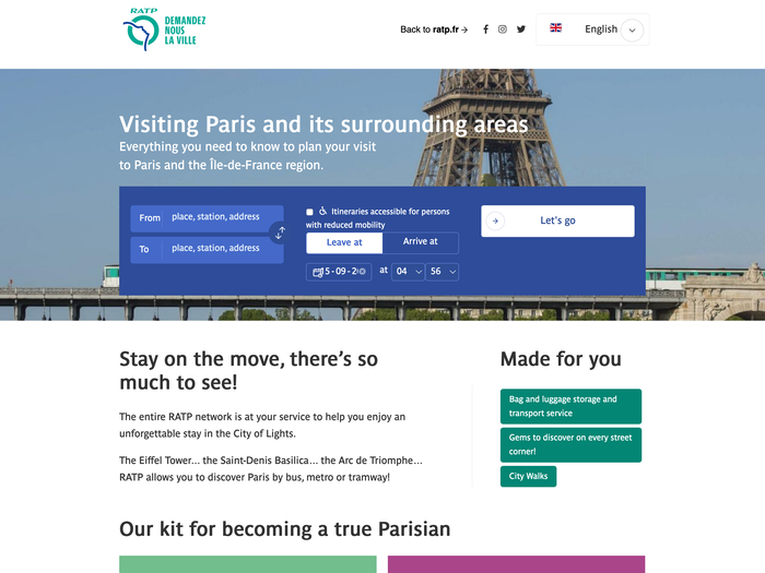 RATP website, using Parisine and the same color scheme as used for the RATP signage.