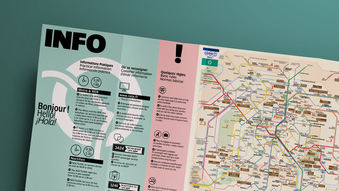 Trilingual tourist map (2017) with info in French, English, and Spanish, designed by Be Dandy using Parisine's narrow and compressed widths.