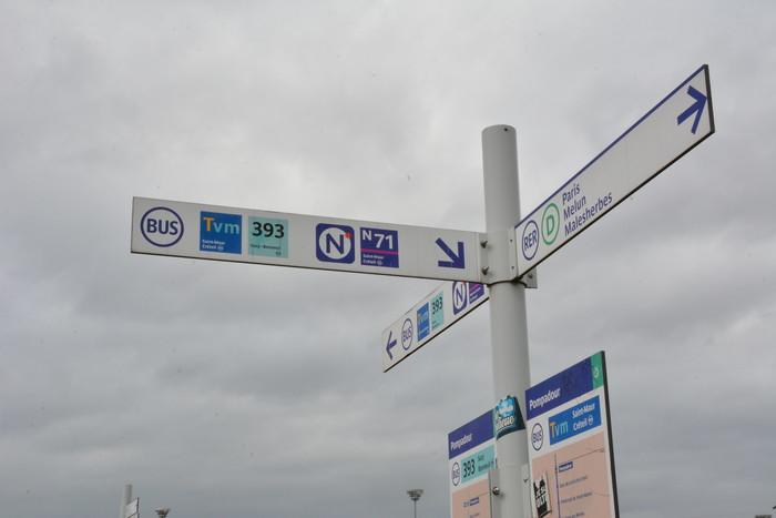 Sign post outside Pompadour station, 2019.