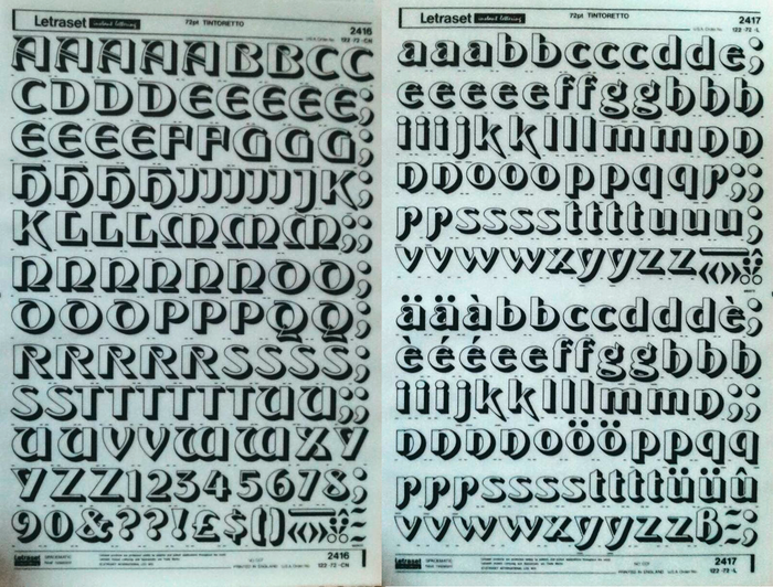 Letraset sheets for 72pt Tintoretto, in uppercase and numerals (2416) as well as lowercase letters (2417).