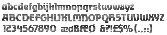 Glyph set of Transmission as shown in The World of Letraset Products, Esselte, 1994.