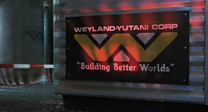 Weyland-Yutani Corp logo and slogan in Aliens (1986) 1