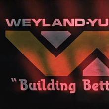 Weyland-Yutani Corp logo and slogan in <cite>Aliens</cite> (1986)