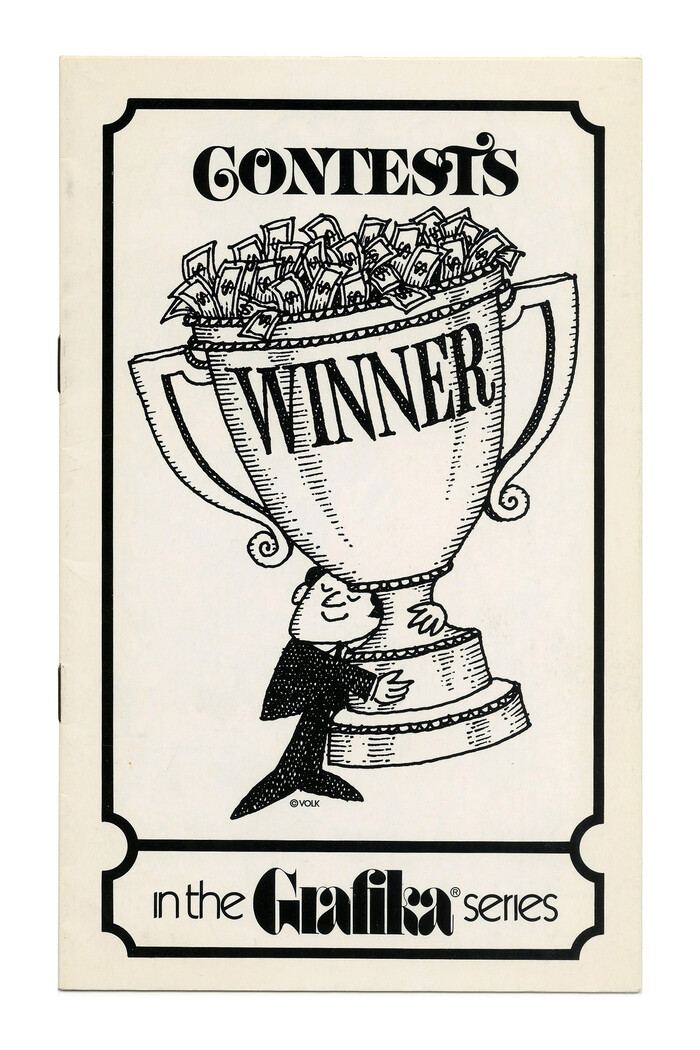 """""""Contests"""" (No. G86) ft. more , this time in all caps. The logo of the Grafika subseries is in  with ligatures for ra and fi, accompanied by  Light with omitted tittles."""
