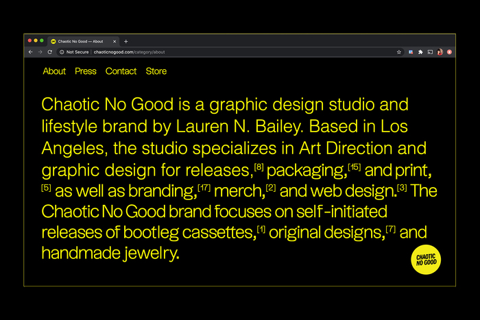 Chaotic No Good website 3