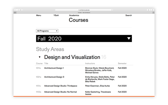 Yale Architecture website 6