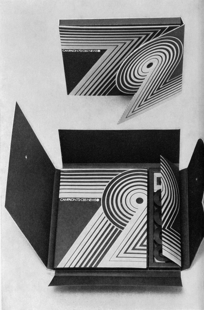 Folding cardboard box containing material on the 1972 election campaign, blue, red, and black. Design by Akihiko Seki for CBS/Broadcast Group. Reproduced in Graphis #168, March 1974.