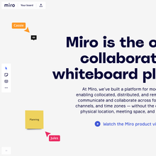 Miro whiteboard software and website