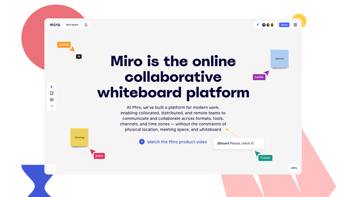 Miro whiteboard software and website 1