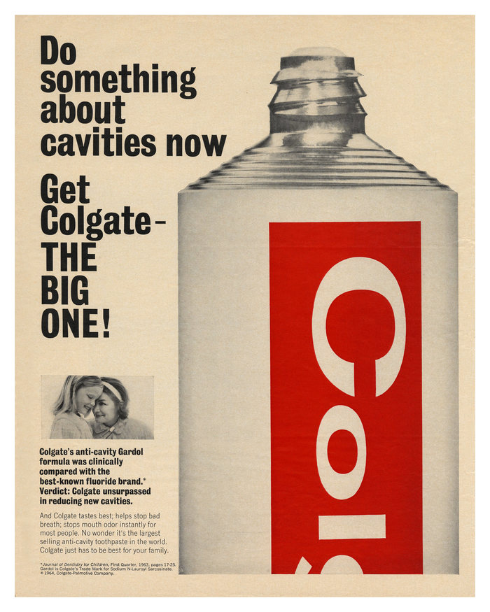 """""""Do something about cavities now"""" Colgate ad (1964)"""