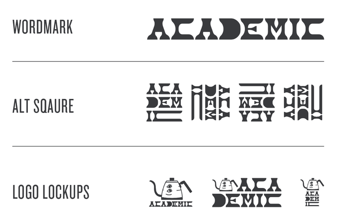 Wordmark with alternative square forms and logo lockups.