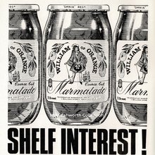 """Shelf interest!"" ad for William of Orange marmalades (1966)"