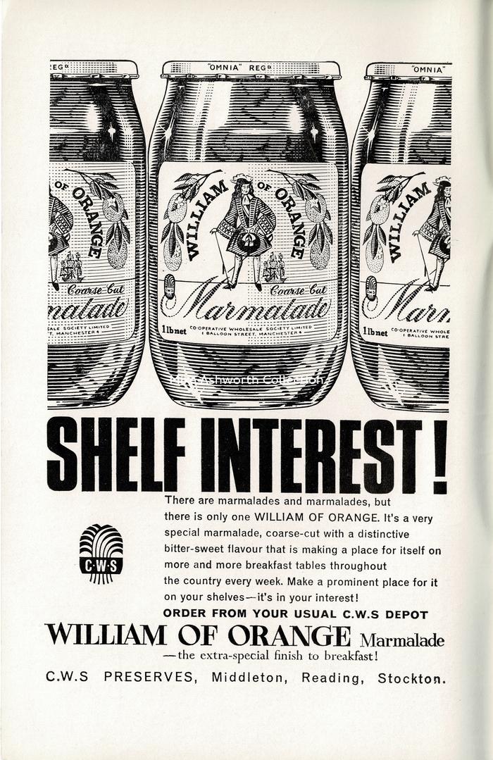 """Shelf interest!"" ad for William of Orange marmalades (1966)"