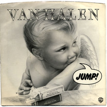 "Van Halen – ""Jump"" / ""House Of Pain"" single sleeve and <cite>1984</cite> album cover"