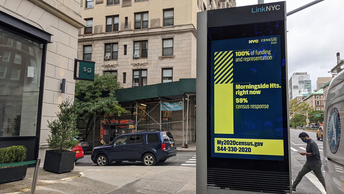 A LinkNYC kiosk illustrates the current response rate of the Morningside Heights neighborhood