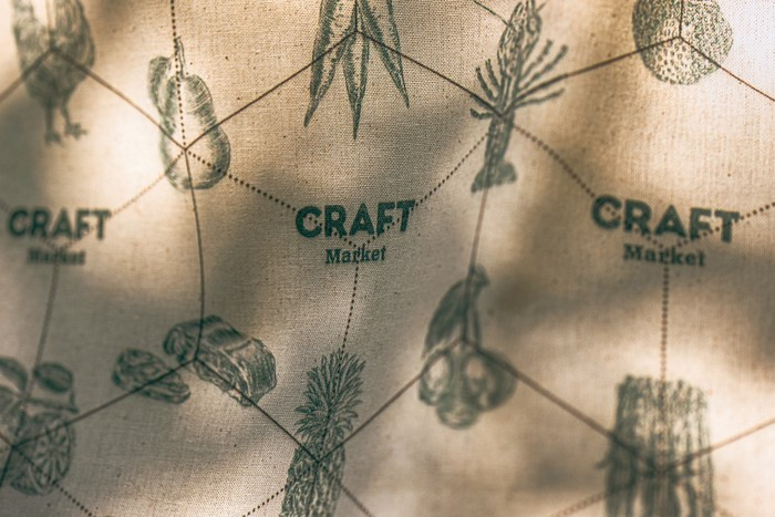 Tote fabric pattern closeup