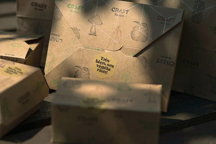 Vegan takeaway packaging detail