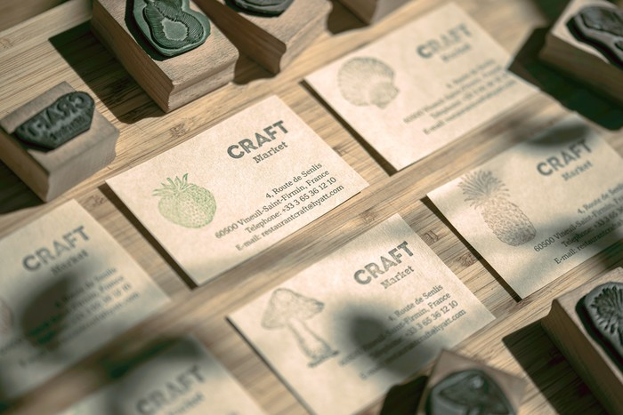 Business cards with rubber stamps illustrations