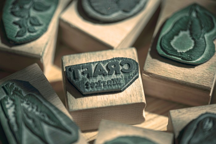 CRAFT Market logo on a rubber stamp detail