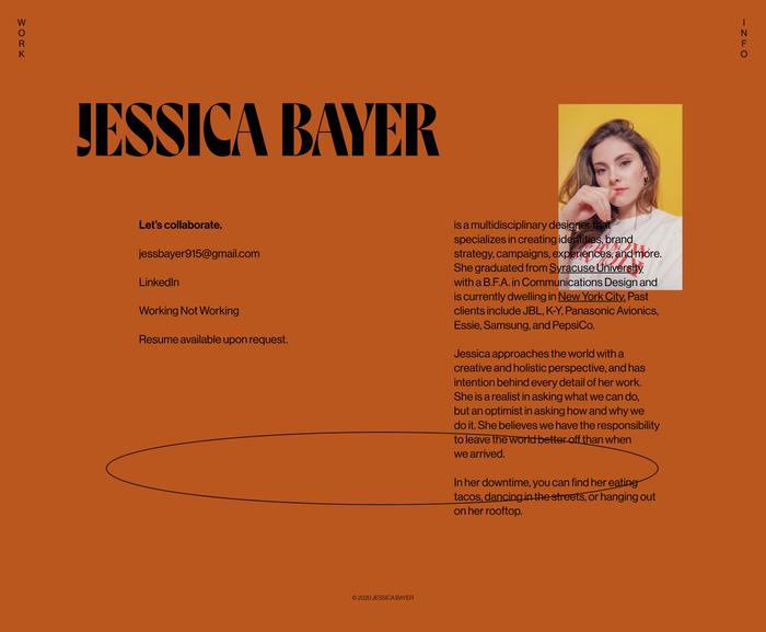 Jessica Bayer portfolio website 3