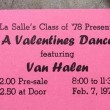 """A Valentines Dance"" ft. Van Halen ticket (1976)"