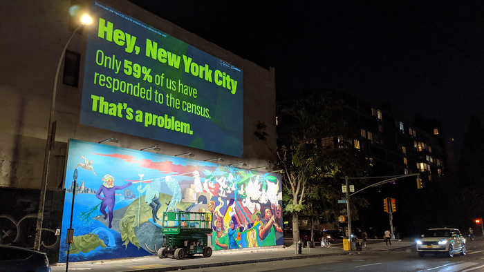 Projection onto a building at Bowery and Houston